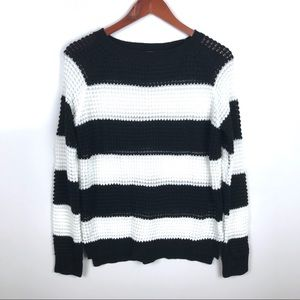 BBSP Sweaters - 🦀 BBSP Knit Sweater Black/White Stripped  Sz M